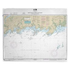 Branford Harbor, The Thimbles, Guilford, CT Nautical Chart Fleece Throw Blanket