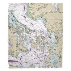 San Juan Islands, Bellingham, Anacortes, WA Nautical Chart Fleece Throw Blanket