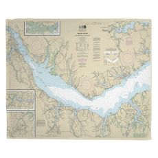 Neuse River, Upper Bay River, NC Nautical Chart Fleece Throw Blanket