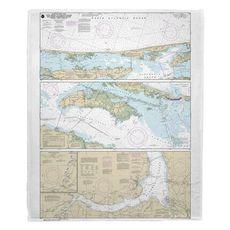 Cape Henry to Pamlico Sound, NC Nautical Chart Fleece Throw Blanket
