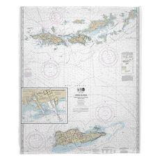 Virgin Islands, Virgin Gorda to St. Croix Nautical Chart Fleece Throw Blanket