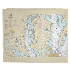 Chesapeake Bay, MD-VA Nautical Chart Fleece Throw Blanket