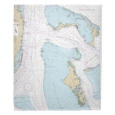 Grand Bahama, Abaco, Andros, New Providence, Bahamas Nautical Chart Fleece Throw Blanket