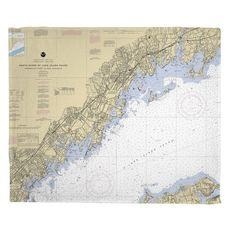 North Shore of Long Island Sound, Greenwich Point, CT to New Rochelle, NY Fleece Throw Blanket