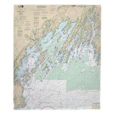 Casco Bay, ME Nautical Chart Fleece Throw Blanket