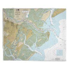 Savannah River and Wassaw Sound, GA Nautical Chart Fleece Throw Blanket