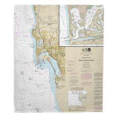Approaches to San Diego Bay, La Jolla, Coronada, CA Nautical Chart Fleece Throw Blanket