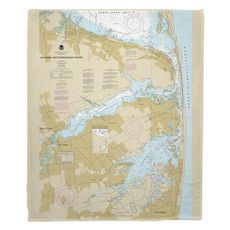 Navesink and Shrewsbury Rivers, Redbank, Rumson Neck, NJ Nautical Chart Fleece Throw Blanket
