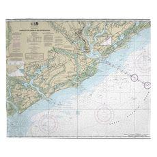 Charleston Harbor and Approaches, SC Nautical Chart Fleece Throw Blanket