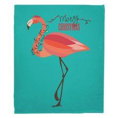 Flamingo Christmas Fleece Throw Blanket