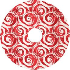 Swirls Christmas Tree Skirt - Red
