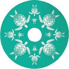 Sea Turtle Christmas Tree Skirt - Aqua