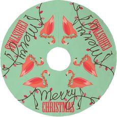 Flamingo Christmas Tree Skirt - Mint