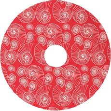 Nautilus Outline Christmas Tree Skirt - Red