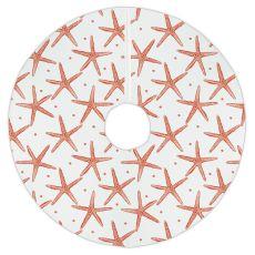 Pencil Starfish Christmas Tree Skirt - Coral Red