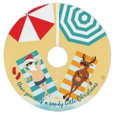 Beach Santa & Reindeer Christmas Tree Skirt