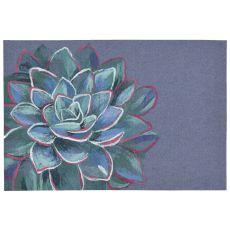 """Liora Manne Illusions Succulent Indoor/Outdoor Mat Lapis 23""""X35"""""""