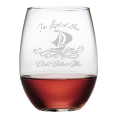 Lost At Sea Etched Stemless Wine Glasses (Set Of 4)