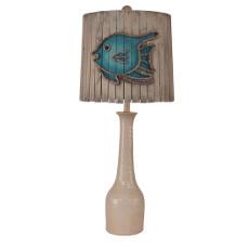 Coastal Lamp Slender Neck Textured Pottery Pot - Antique Cottage Fish Decor