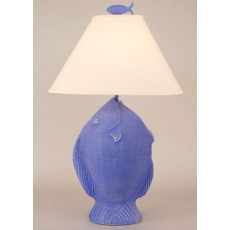 Angel Fish Pot Table Lamp - Weathered Blueberry