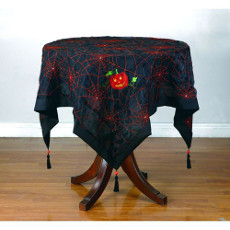 Pumpkin With Spider Web Table Topper
