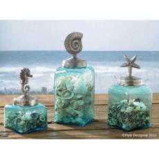 Coastal Themed Glass Jar Canister Set
