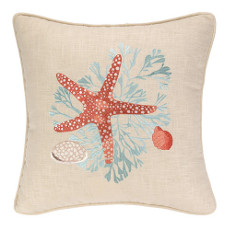 Sealife Starfish Embroidered Pillow