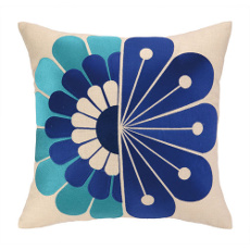 Windsor Blue Embroidered Pillow