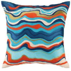 Waterflow Embroidered Pillow Blue 20x20""