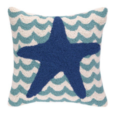Starfish in Waves Hooked Pillow