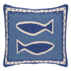 Oriental 2 Fish Hooked Pillow