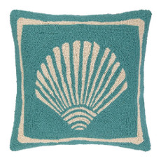 Single Scallop Turquoise Hook Pillow