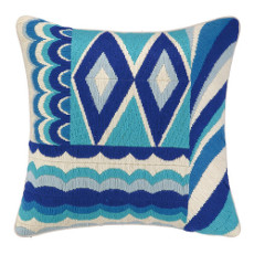 Coronado Blue Bargello Needle Point Pillow