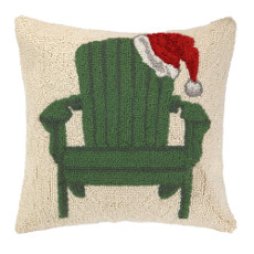 Green Chair with Santa Hat Hooked Pillow