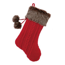 Red & Brown Fur Knit Holiday Stocking