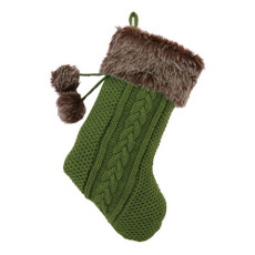 Green & Brown Fur Knit Holiday Stocking