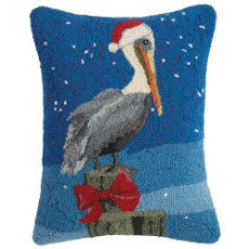 """Pelican Red Bow Hooked Pillow 14X18"""""""