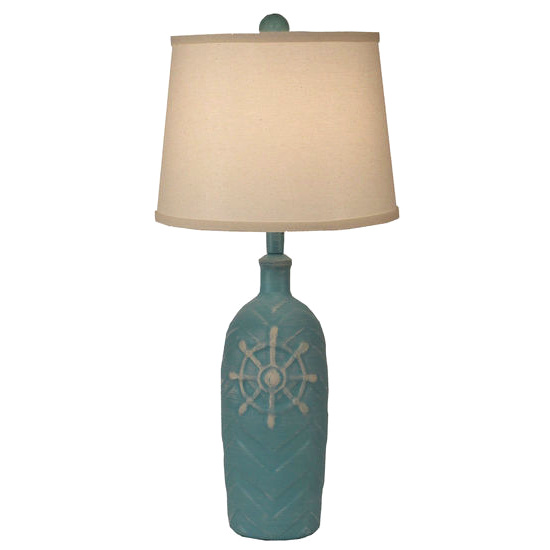 Chevron Pot Weathered Turquoise Captains Wheel Accent Lamp