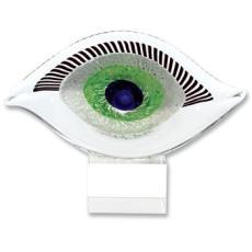 Crystal Good Luck Murano Style Art Glass Eye Centerpiece