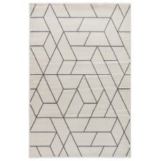 Geometric Pattern White/Gray Wool, Polyester And Polypropylene Area Rug ( 7.10X9.6)