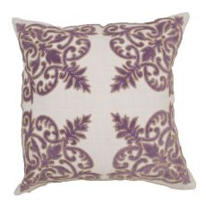 """Traditional & Classic Pattern Purple Cotton Poly Pillow ( 22""""X22"""")"""