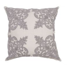 """Traditional & Classic Pattern Gray Cotton Poly Pillow ( 22""""X22"""")"""