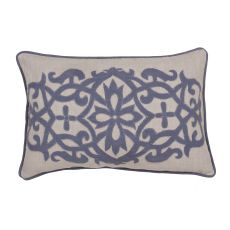 """Traditional & Classic Pattern Blue Linen Poly Pillow ( 16""""X24"""")"""