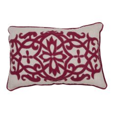 """Traditional & Classic Pattern Red Linen Poly Pillow ( 16""""X24"""")"""