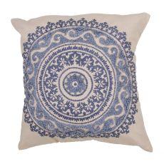 "Transitional Pattern Blue Cotton Poly Pillow ( 22""X22"")"