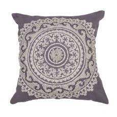 "Transitional Pattern Dark Gray Cotton Poly Pillow ( 22""X22"")"