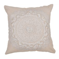 """Traditional & Classic Pattern Ivory Cotton Poly Pillow ( 22""""X22"""")"""