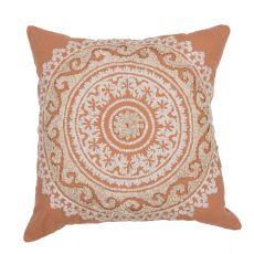 "Transitional Pattern Orange Cotton Poly Pillow ( 22""X22"")"