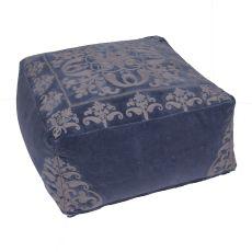 """Blue Cotton Pouf (24""""x24""""x12"""")"""