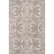 Contemporary Damask Pattern Gray Wool And Art Silk Area Rug (8X11)